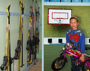 Friends of Russian Orphans FORO Skis, dilapidated basketball hoop, orphan receiving bicycle
